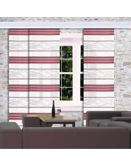 Flächengardine Tori mit Streifenmuster bordeaux am Fenster dekoriert