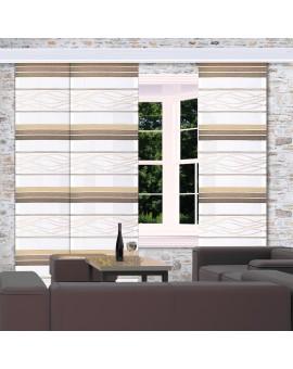Flächengardine Tori mit Streifenmuster braun-beige am Fenster dekoriert