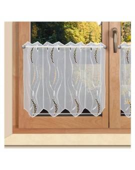 Bestickte Kurzgardine Valerie weiß-beige Plauener Spitze an einem Fenster