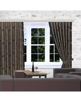 Landhaus-Reihbandschals Breno mit Steinbock braun am Fenster