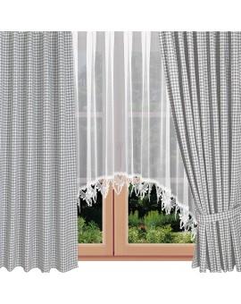 Dekoschal Leni grau kariert mit Herzen am Fenster