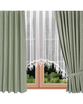 Dekoschals Leni grün kariert am Fenster