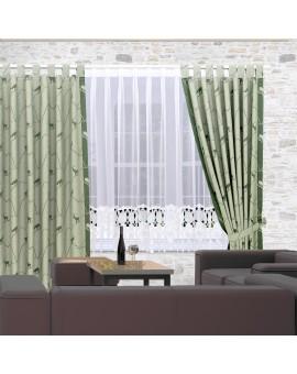 Gardinenstore Marthe mit Stickerei-Kante Weiß an einem Fenster