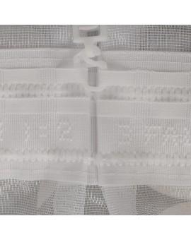 Gardinenstore Marthe mit Stickerei-Kante Weiß Detail Reihband