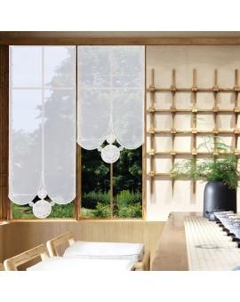 Flächengardine Circle weiß-braun Beispielbild am Fenster