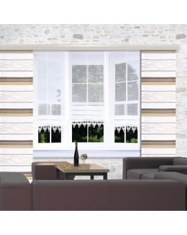 Raffrollo Anna Plauener Spitze weiß Beispielbild mit 3 Stück am Fenster