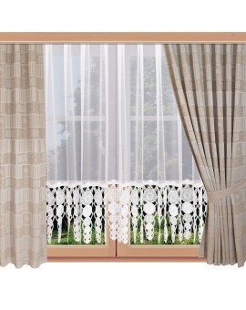 2er Set Landhaus-Reihbandschals Marie mit Rose beige am Fenster