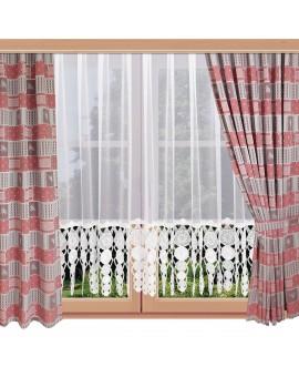 Landhaus-Dekoschals Marie mit Rose rot am Fenster