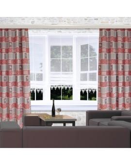 Landhaus-Reihbandschals Marie mit Rose rot Beispielbild