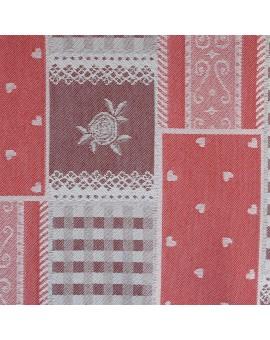 Landhaus-Serie Marie mit Rose in rot Stoffmuster