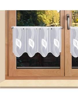 Moderne Scheibengardine gestickt mit Blatt-Ornamenten weiss Plauener Spitze 2 Höhen