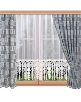 Landhaus-Reihbandschals Marie mit Rose blau am Fenster