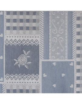 Landhaus-Serie Marie mit Rose blau Stoffmuster