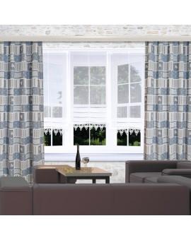 Landhaus-Dekoschals Marie mit Rose blau Beispielbild