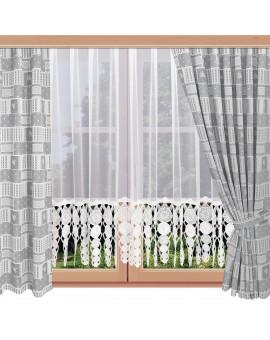 2er Set Landhaus-Dekoschals Marie mit Rose grau am Fenster