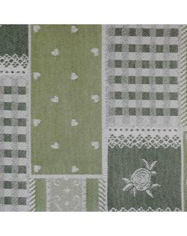 Landhaus-Serie Marie mit Rose in grün Stoffmuster