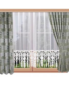 2er Set Landhaus-Dekoschals Marie mit Rose grün am Fenster