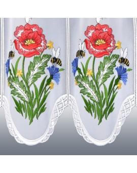 Scheibengardine Biene Echte Plauener Spitze Kurzstore 7335W weiß mit Stickerei