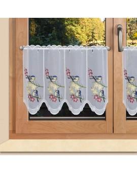 Scheibengardine Vögel auf Blumenzweig Scheibenhänger bunt bestickt Plauener Spitze