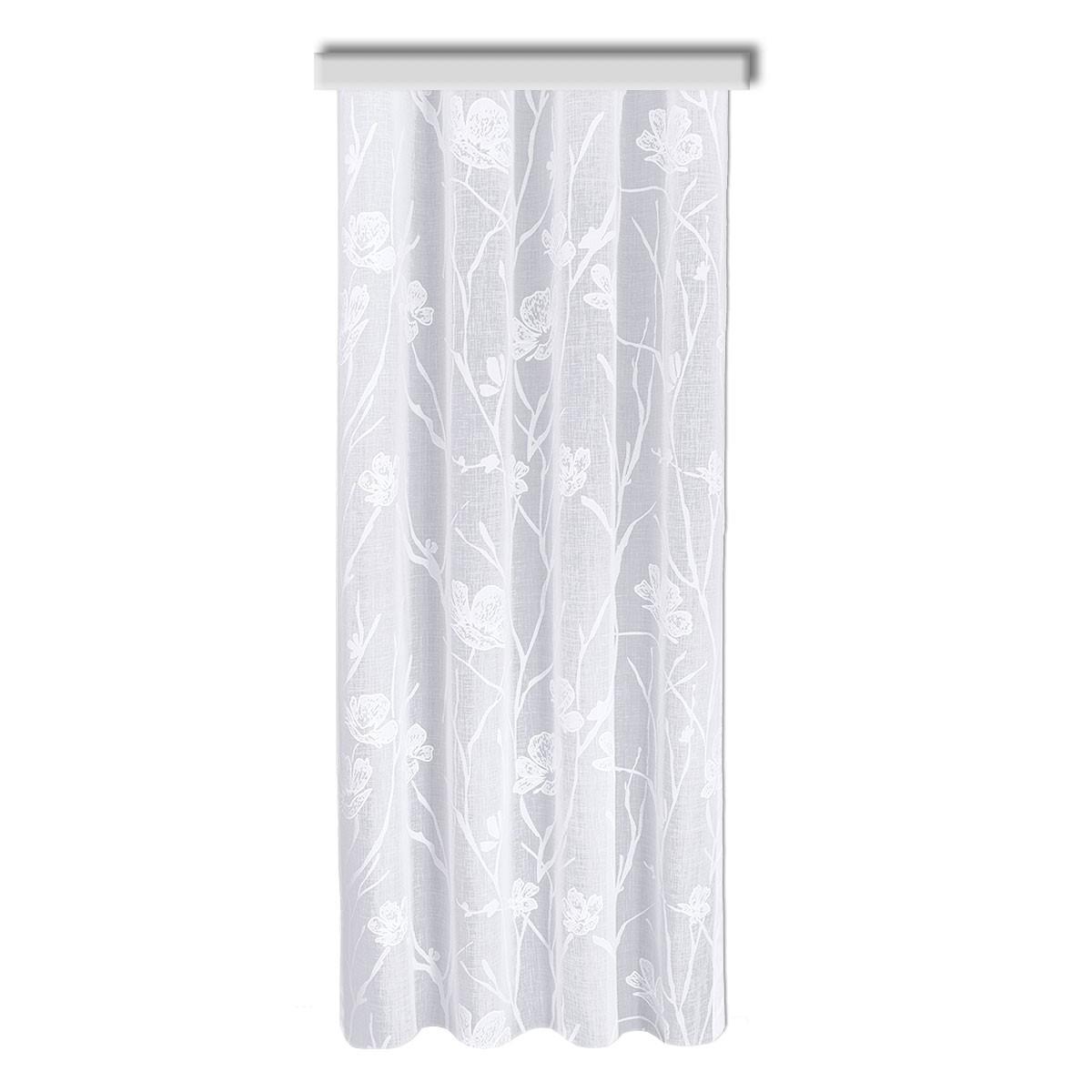 Reihband-Dekoschal Rory in weiß mit Blumen-Muster