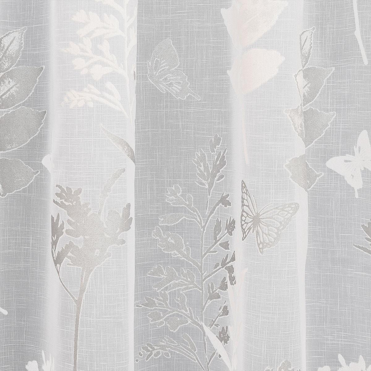 Stoffmuster Avara weiß-silber 025677