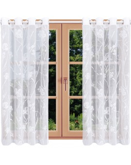 Fensterdeko Rory in weiß mit Blumen-Muster Beispielbild