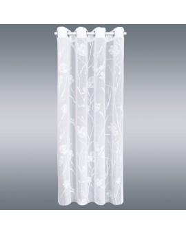 Deko-Vorhang Rory in weiß mit Blüten und Ösen Musterbild