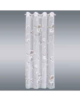 Gardinenschal Yari mit Blüten-Muster und Ösen