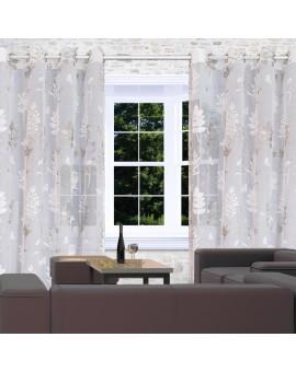 Vorhang Avara mit Schmetterlingen weiß-silber am Fenster