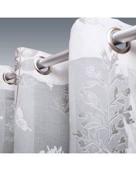 Gardine Avara mit Schmetterlingen weiß-silber und Chrom-Ösen