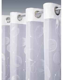 Langstore Filia Stickereistore Ösenschal | Fertigstore Gardine Vorhang weiß