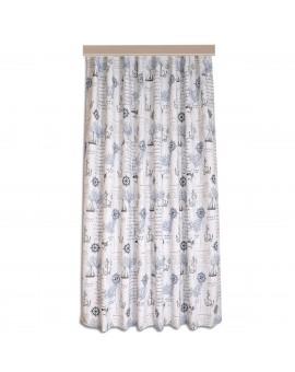 Hochwertiger Dekoschal Husum blau-weiß-grau Reihband
