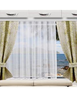 Wohnwagen Store AURI weiß-türkis mit LUCA Flächengardine als Dekobeispiel
