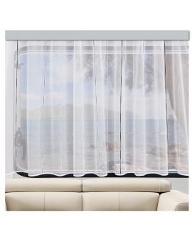 Wohnwagen Store AURI weiß-grau / anthrazit am Fenster