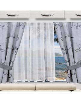 Wohnwagen Store AURI weiß-grau / anthrazit als Dekorationsbeispiel mit Gardine IVO
