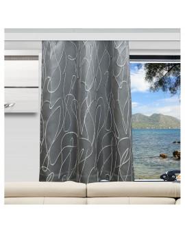 Wohnmobil-Vorhang Joran in grau mit Effektstickerei