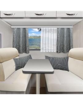 Wohnmobil-Kollektion Joran in grau mit Vorhängen und Kissen