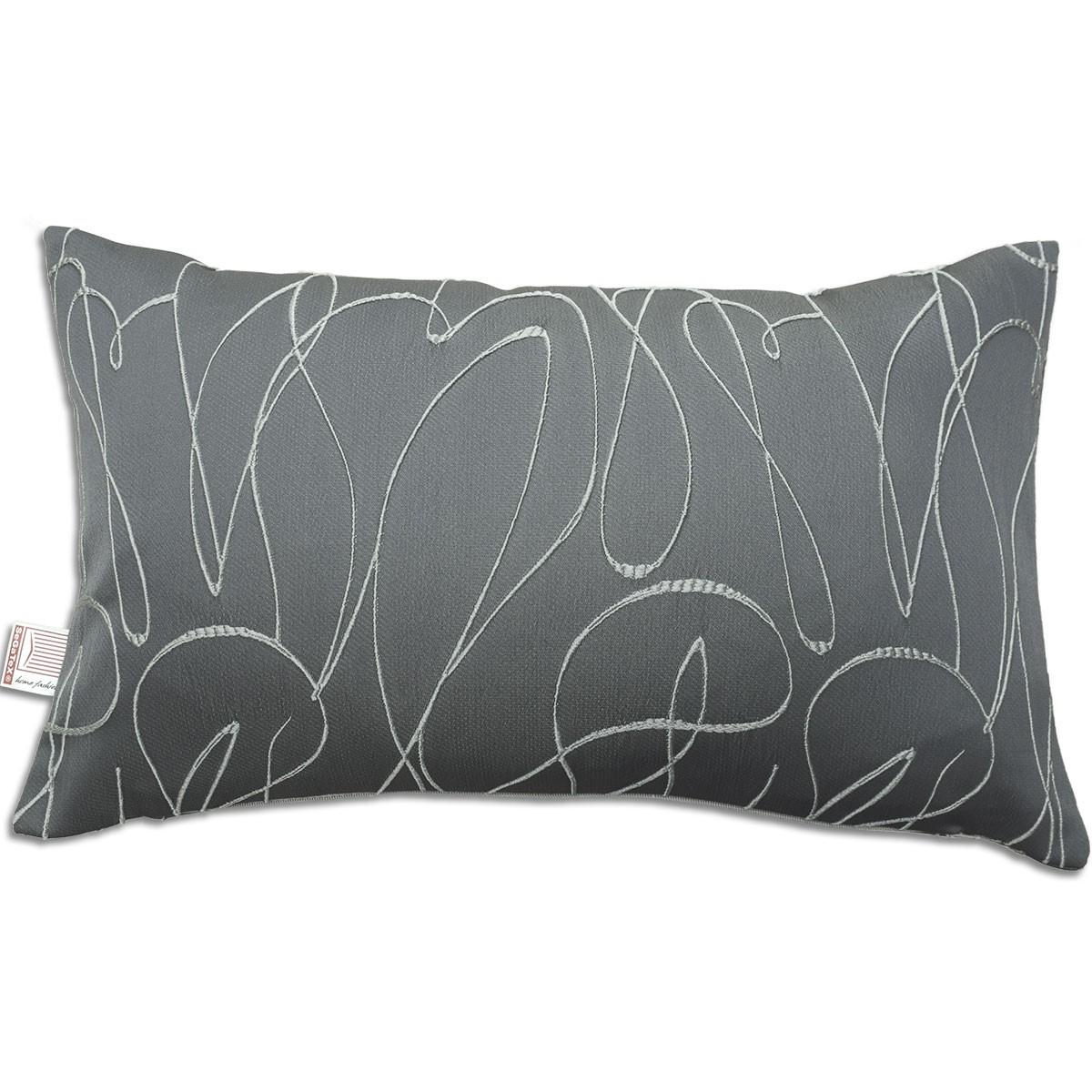 Kissen Joran in grau 50 x 30 cm mit Effektstickerei