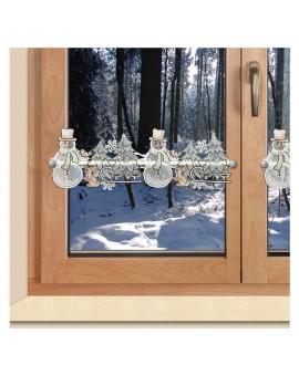 Feenhaus-Spitzengardine Winterwald mit Schneemann am Fenster