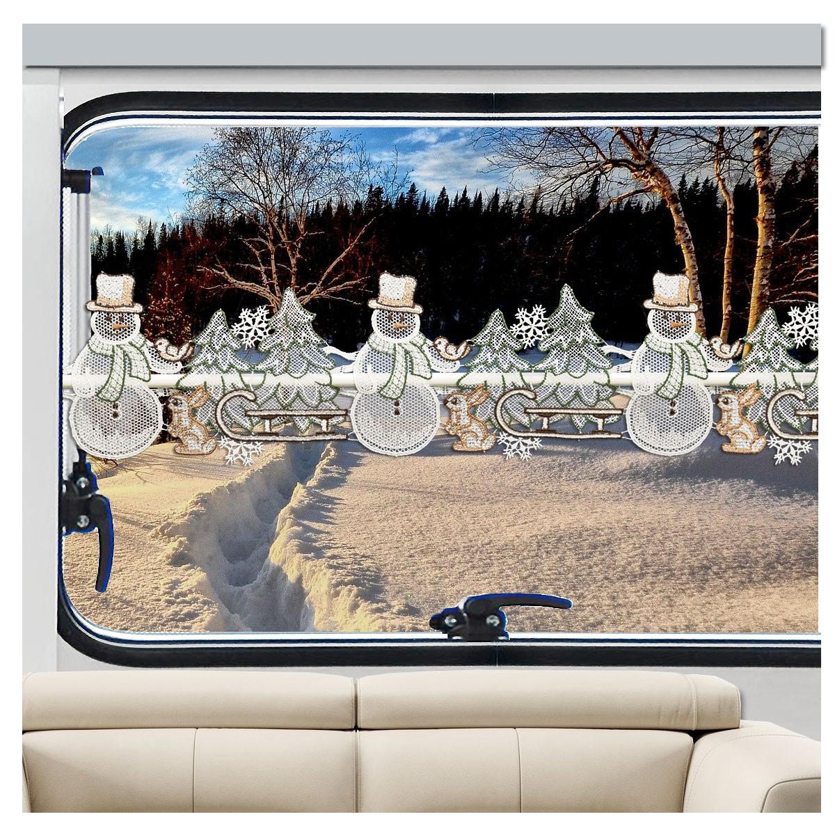 Caravan Feenhaus-Spitzengardine Winterwald mit Schneemann
