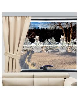 Wohnwagen-Gardine Winterwald mit Schneemann Beispielbild