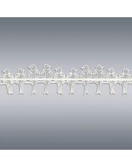 Kurzstore Spatzen in weiß Plauener Spitze Musterbild
