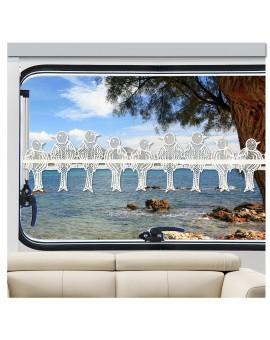 Caravan Scheibengardine Spatzen am Fenster