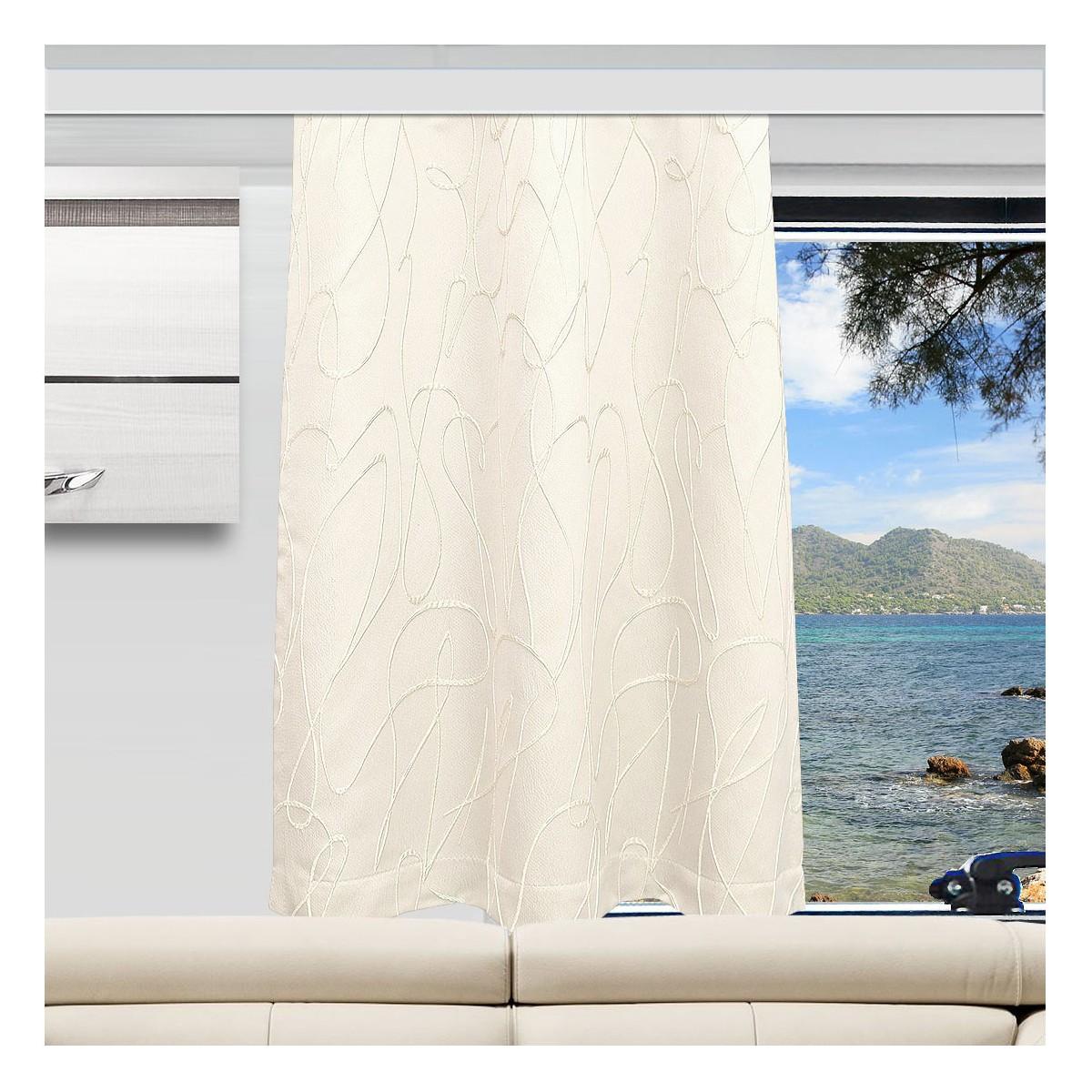 Wohnmobil-Vorhang Joran in wollweiß mit Effektstickerei