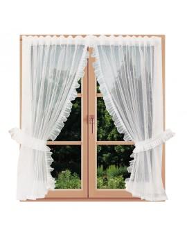 Scheibenraffgardine Manja mit Rüschen am Fenster