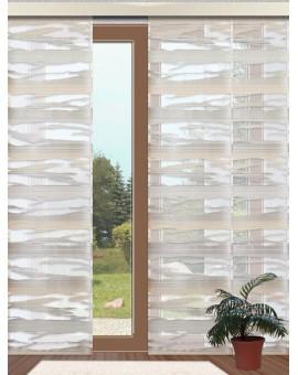 Flächengardine Eltje Schiebevorhang beige-grau-grün aufwendiges Scherli-Muster